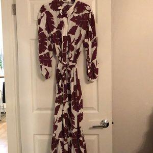 Burgundy print Maxi dress